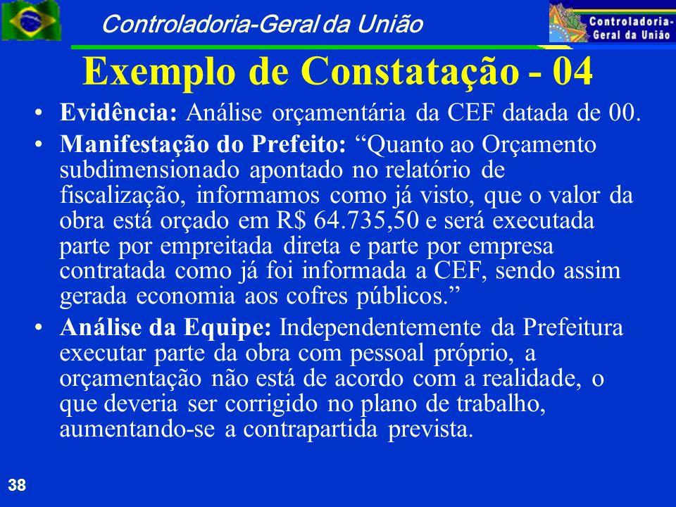 Controladoria-Geral da União 38 Exemplo de Constatação - 04 Evidência: Análise orçamentária da CEF datada de 00. Manifestação do Prefeito: Quanto ao O