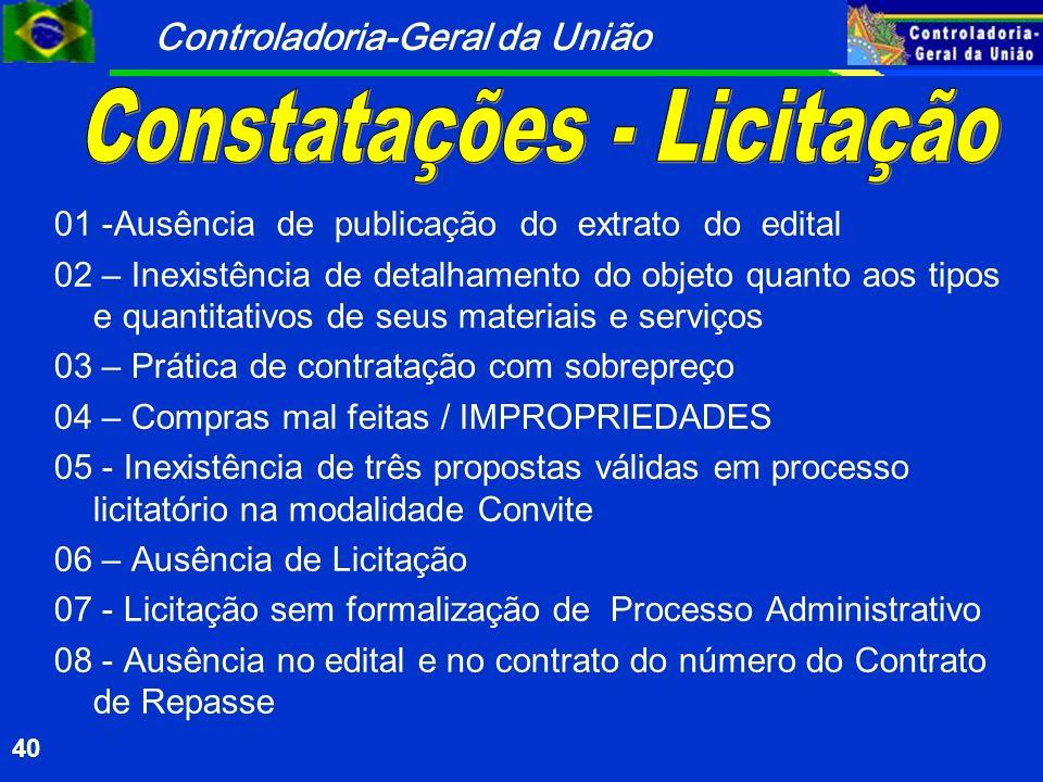 Controladoria-Geral da União 40 01 -Ausência de publicação do extrato do edital 02 – Inexistência de detalhamento do objeto quanto aos tipos e quantit