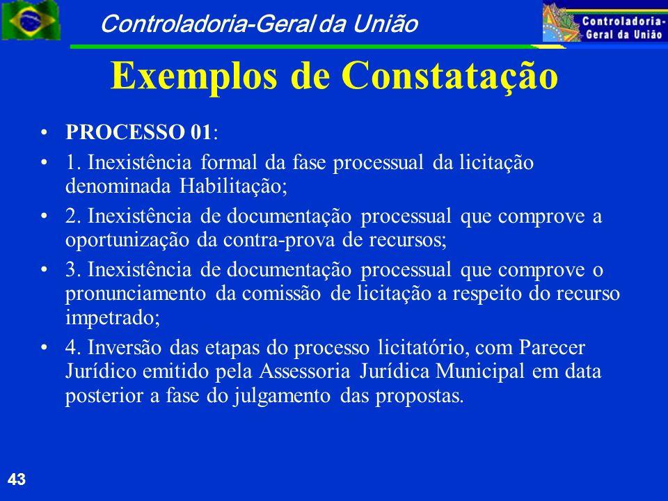 Controladoria-Geral da União 43 Exemplos de Constatação PROCESSO 01: 1. Inexistência formal da fase processual da licitação denominada Habilitação; 2.