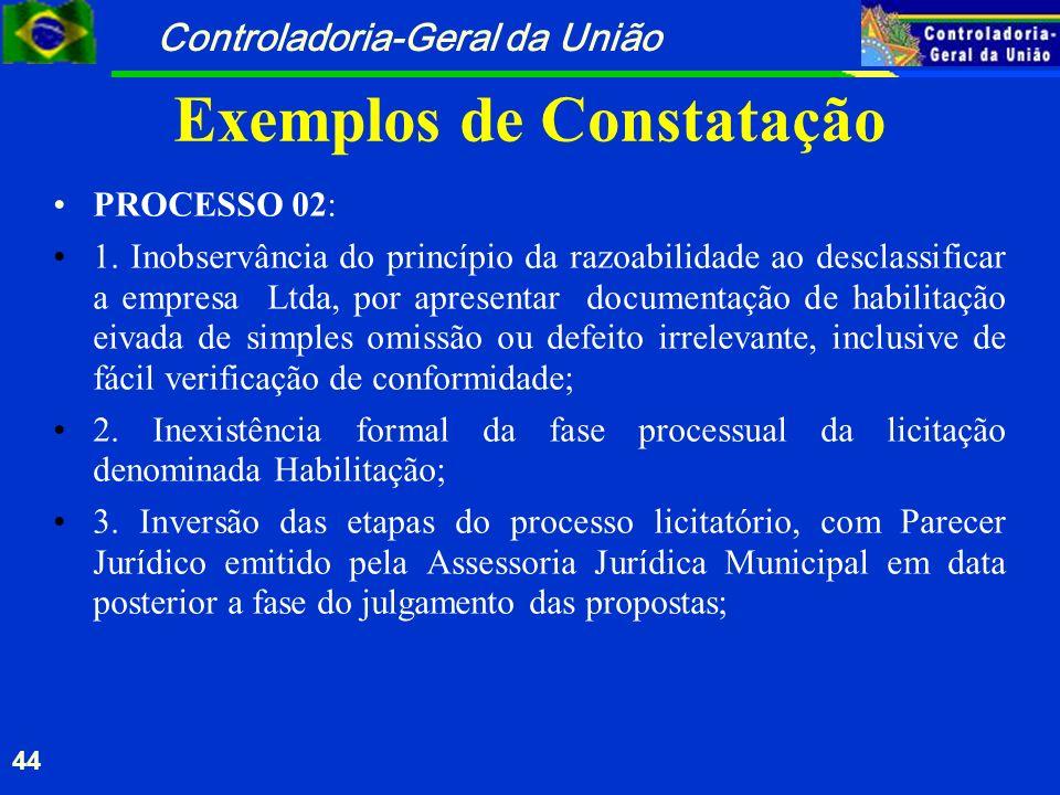 Controladoria-Geral da União 44 Exemplos de Constatação PROCESSO 02: 1. Inobservância do princípio da razoabilidade ao desclassificar a empresa Ltda,