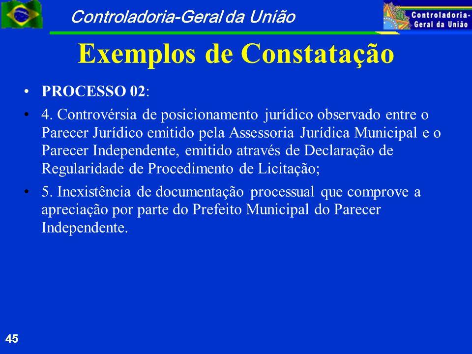 Controladoria-Geral da União 45 Exemplos de Constatação PROCESSO 02: 4. Controvérsia de posicionamento jurídico observado entre o Parecer Jurídico emi