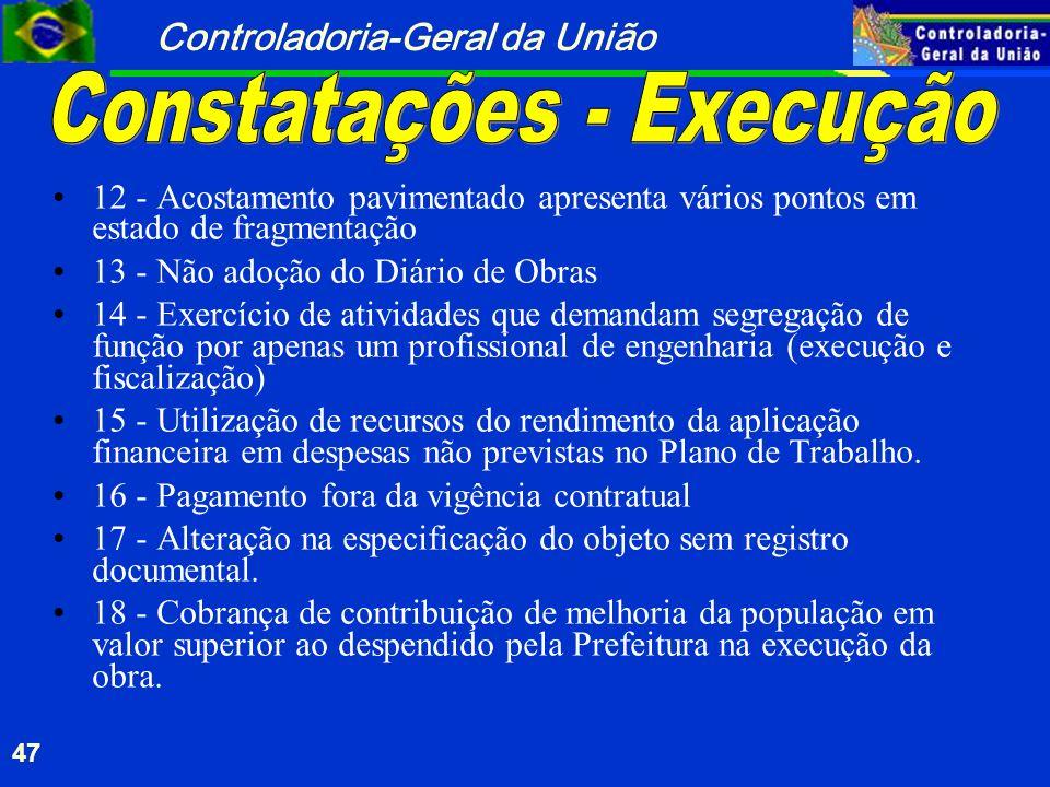 Controladoria-Geral da União 47 12 - Acostamento pavimentado apresenta vários pontos em estado de fragmentação 13 - Não adoção do Diário de Obras 14 -