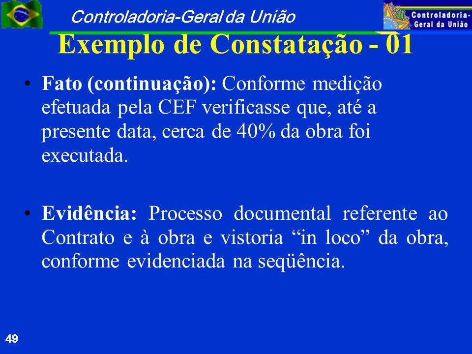 Controladoria-Geral da União 49 Exemplo de Constatação - 01 Fato (continuação): Conforme medição efetuada pela CEF verificasse que, até a presente dat
