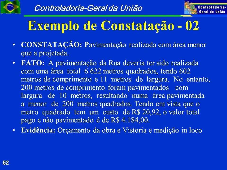 Controladoria-Geral da União 52 Exemplo de Constatação - 02 CONSTATAÇÃO: Pavimentação realizada com área menor que a projetada. FATO: A pavimentação d