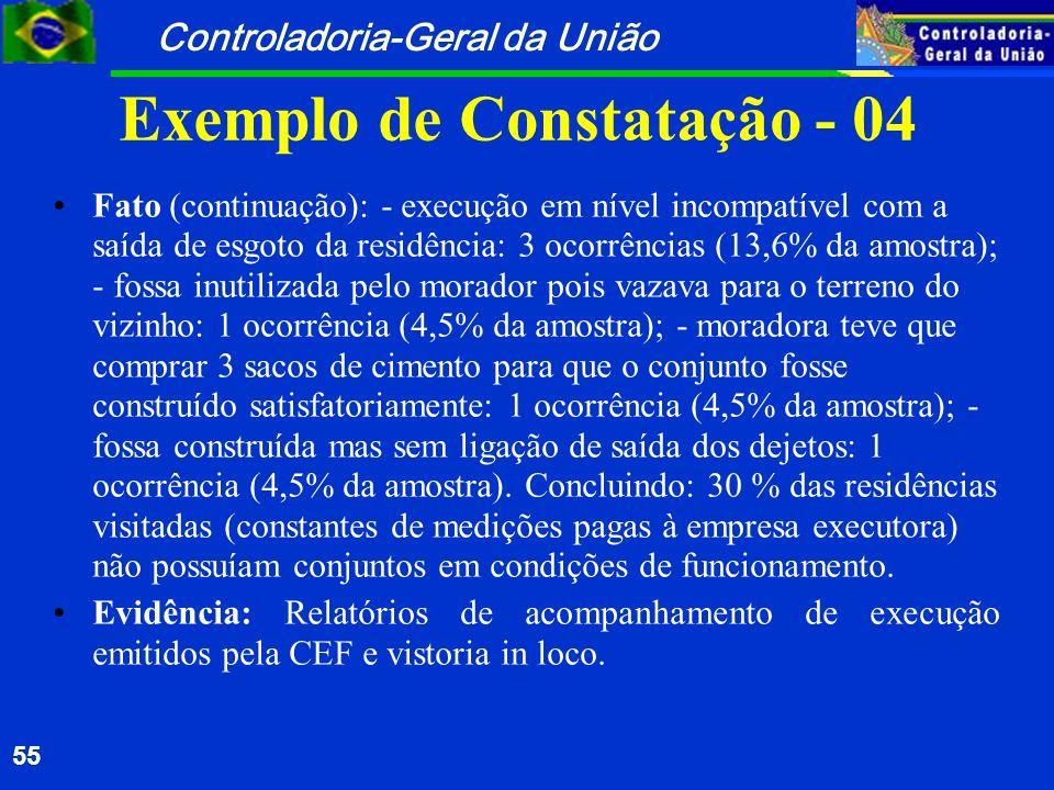 Controladoria-Geral da União 55 Exemplo de Constatação - 04 Fato (continuação): - execução em nível incompatível com a saída de esgoto da residência: