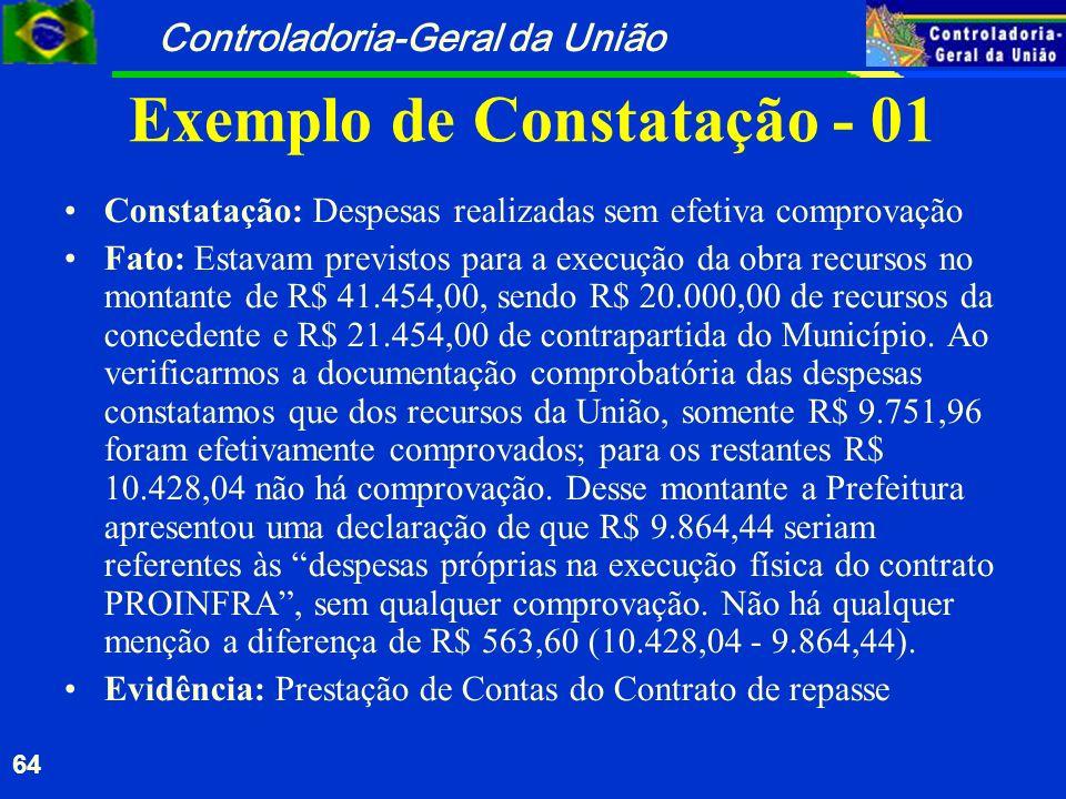 Controladoria-Geral da União 64 Exemplo de Constatação - 01 Constatação: Despesas realizadas sem efetiva comprovação Fato: Estavam previstos para a ex