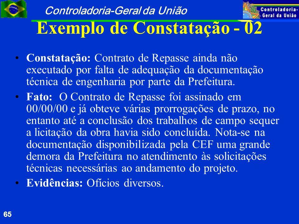 Controladoria-Geral da União 65 Exemplo de Constatação - 02 Constatação: Contrato de Repasse ainda não executado por falta de adequação da documentaçã