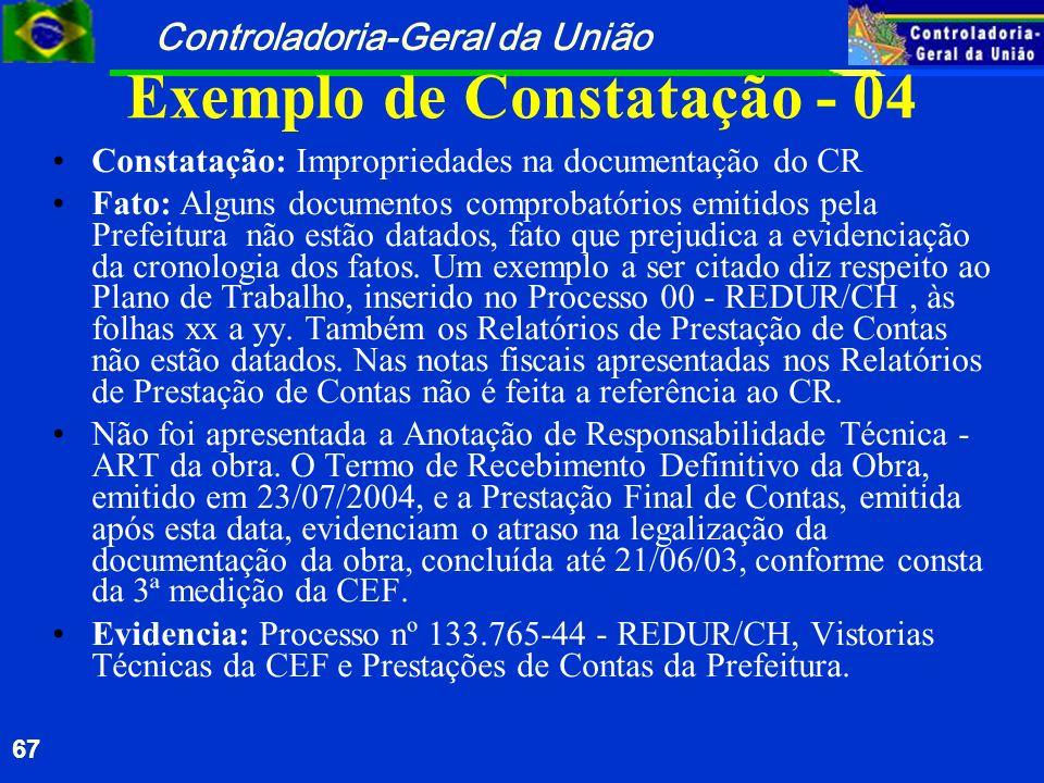 Controladoria-Geral da União 67 Exemplo de Constatação - 04 Constatação: Impropriedades na documentação do CR Fato: Alguns documentos comprobatórios e