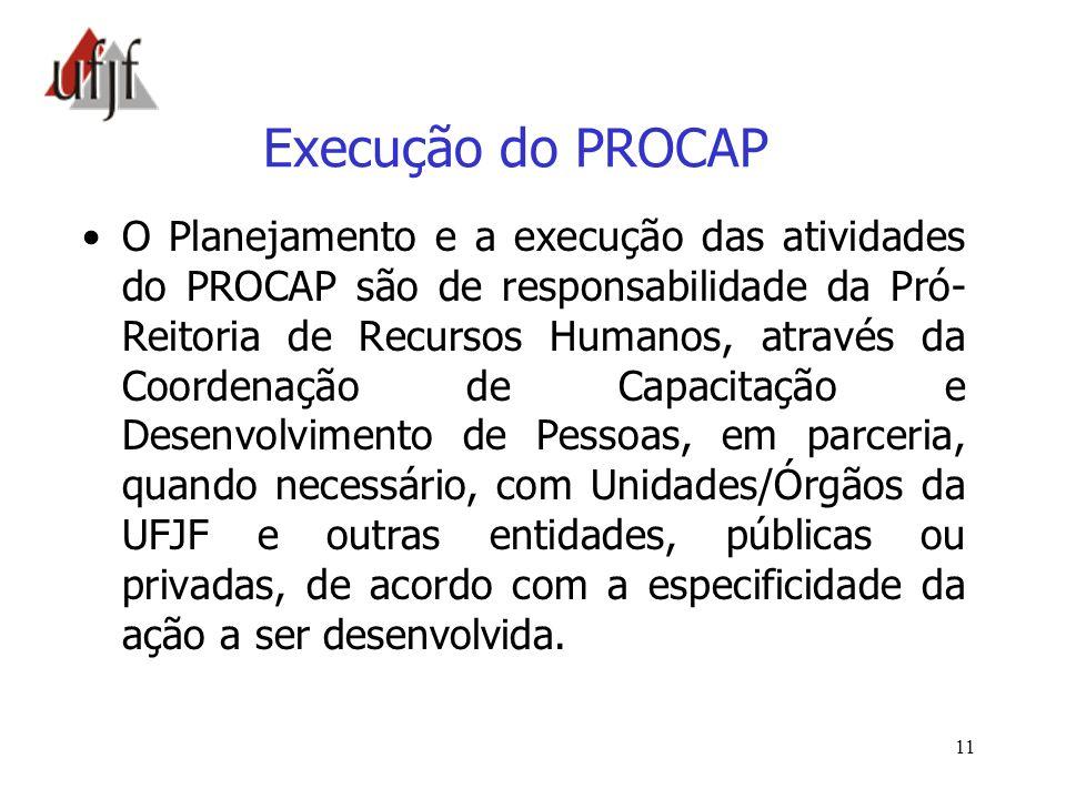 11 Execução do PROCAP O Planejamento e a execução das atividades do PROCAP são de responsabilidade da Pró- Reitoria de Recursos Humanos, através da Co