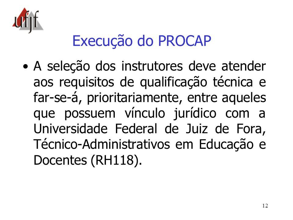 12 Execução do PROCAP A seleção dos instrutores deve atender aos requisitos de qualificação técnica e far-se-á, prioritariamente, entre aqueles que po