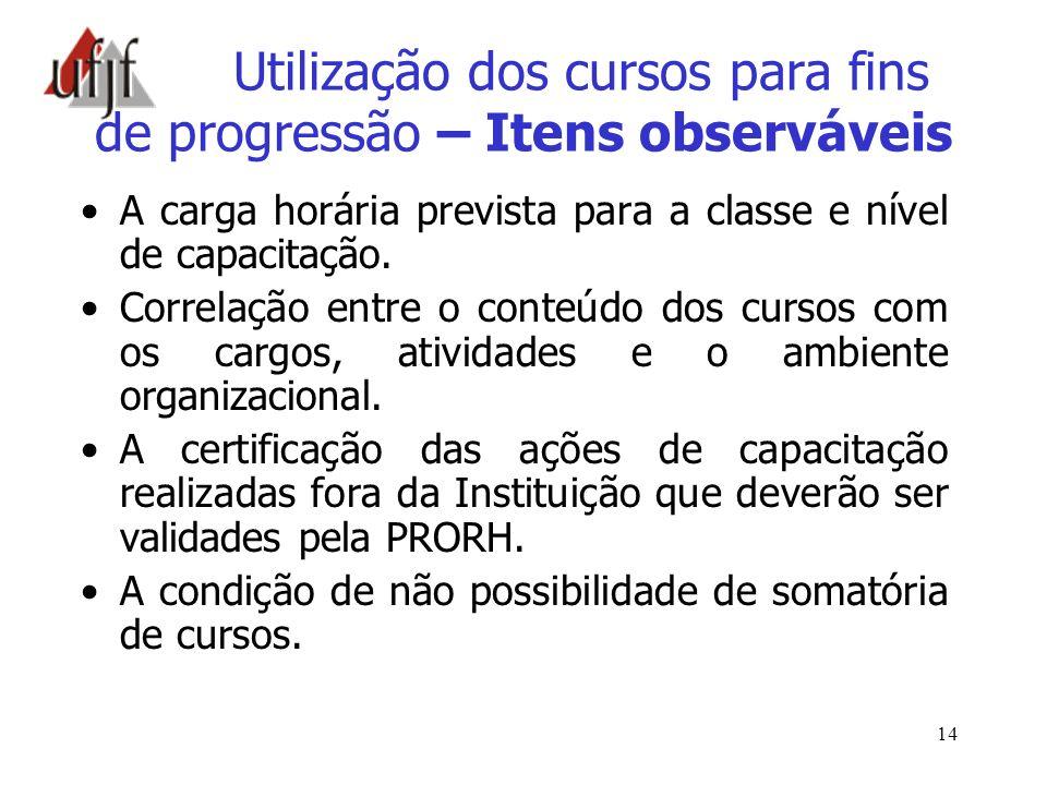 14 Utilização dos cursos para fins de progressão – Itens observáveis A carga horária prevista para a classe e nível de capacitação. Correlação entre o