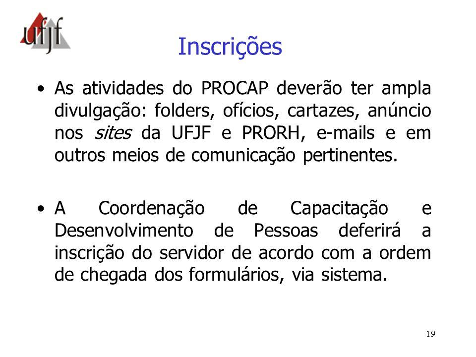 19 Inscrições As atividades do PROCAP deverão ter ampla divulgação: folders, ofícios, cartazes, anúncio nos sites da UFJF e PRORH, e-mails e em outros