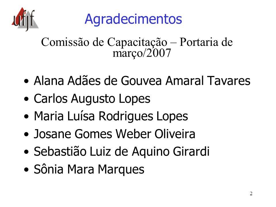 2 Agradecimentos Comissão de Capacitação – Portaria de março/2007 Alana Adães de Gouvea Amaral Tavares Carlos Augusto Lopes Maria Luísa Rodrigues Lope