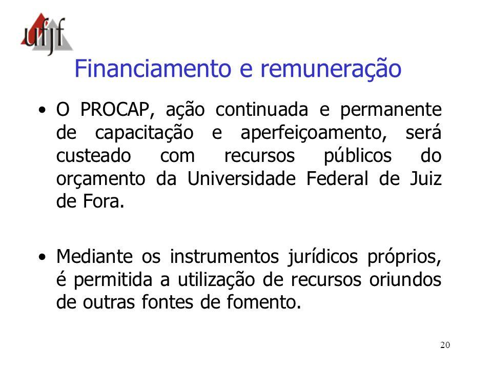 20 Financiamento e remuneração O PROCAP, ação continuada e permanente de capacitação e aperfeiçoamento, será custeado com recursos públicos do orçamen