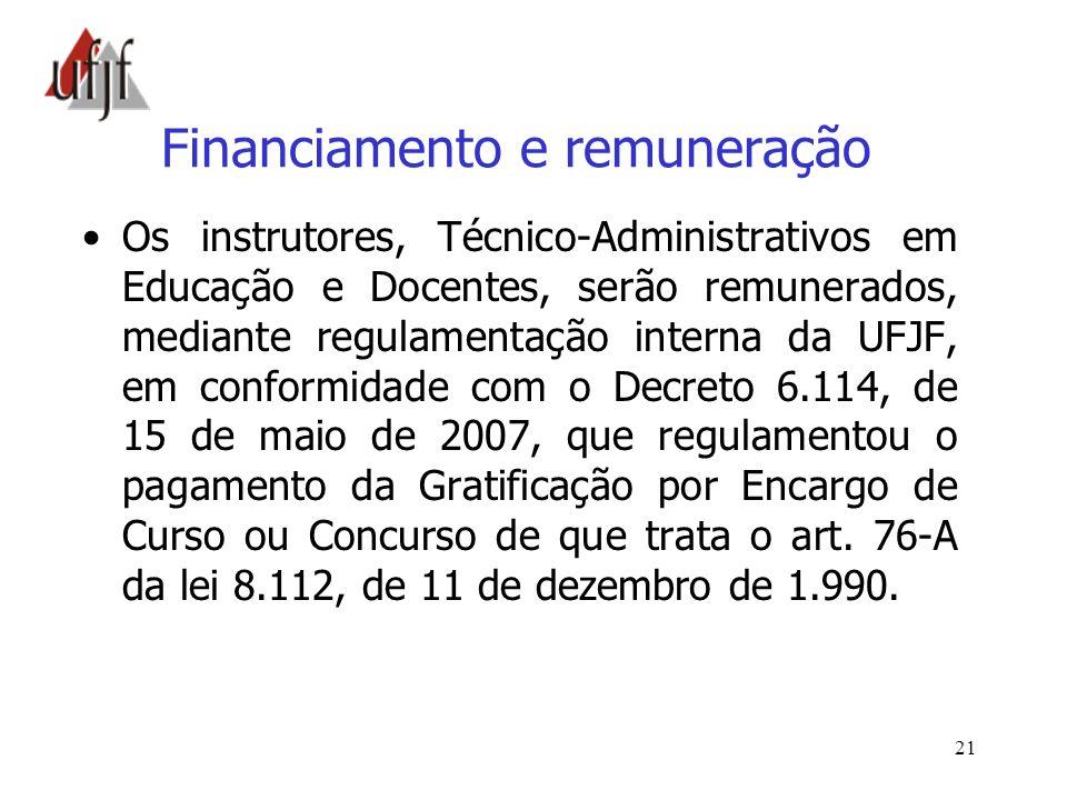 21 Financiamento e remuneração Os instrutores, Técnico-Administrativos em Educação e Docentes, serão remunerados, mediante regulamentação interna da U