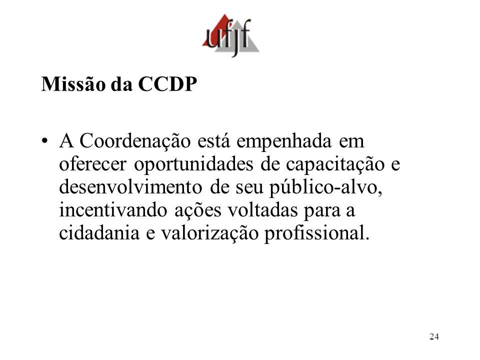 24 Missão da CCDP A Coordenação está empenhada em oferecer oportunidades de capacitação e desenvolvimento de seu público-alvo, incentivando ações volt