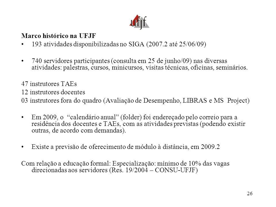 26 Marco histórico na UFJF 193 atividades disponibilizadas no SIGA (2007.2 até 25/06/09) 740 servidores participantes (consulta em 25 de junho/09) nas
