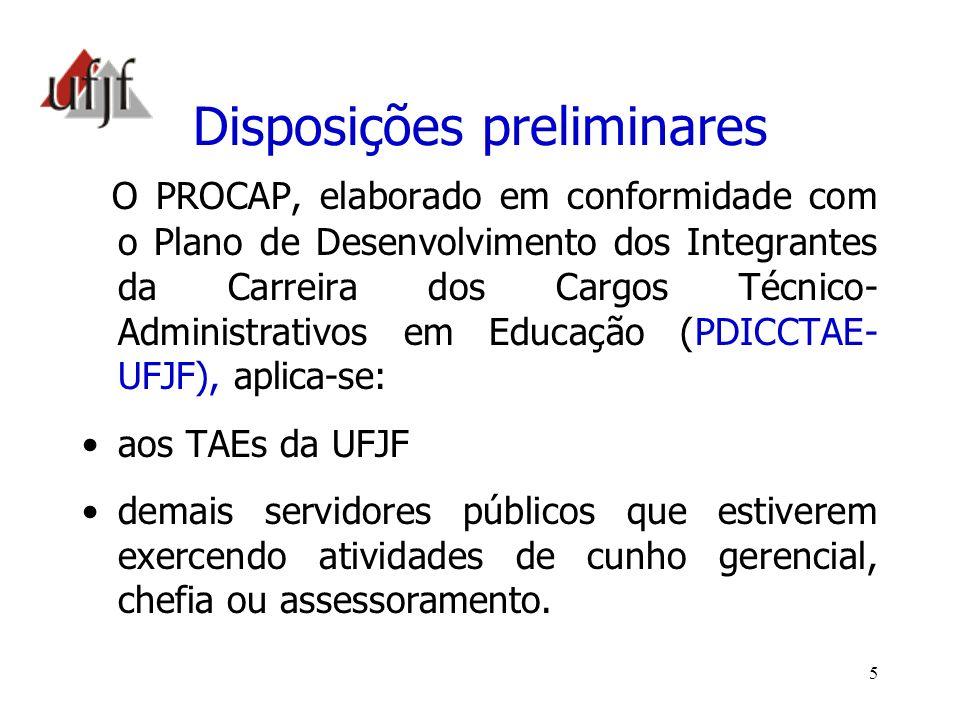 6 Objetivo Geral do PROCAP Proporcionar, de forma continuada, oportunidades de capacitação e qualificação aos servidores TAEs da UFJF, viabilizando a mudança de nível de capacitação mediante: a progressão por capacitação profissional e o incentivo à qualificação, como formas de se promover o seu desenvolvimento.