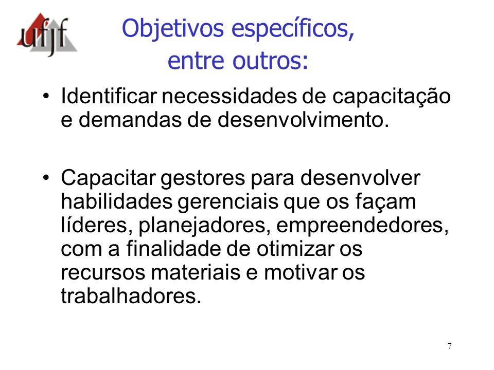 7 Objetivos específicos, entre outros: Identificar necessidades de capacitação e demandas de desenvolvimento. Capacitar gestores para desenvolver habi