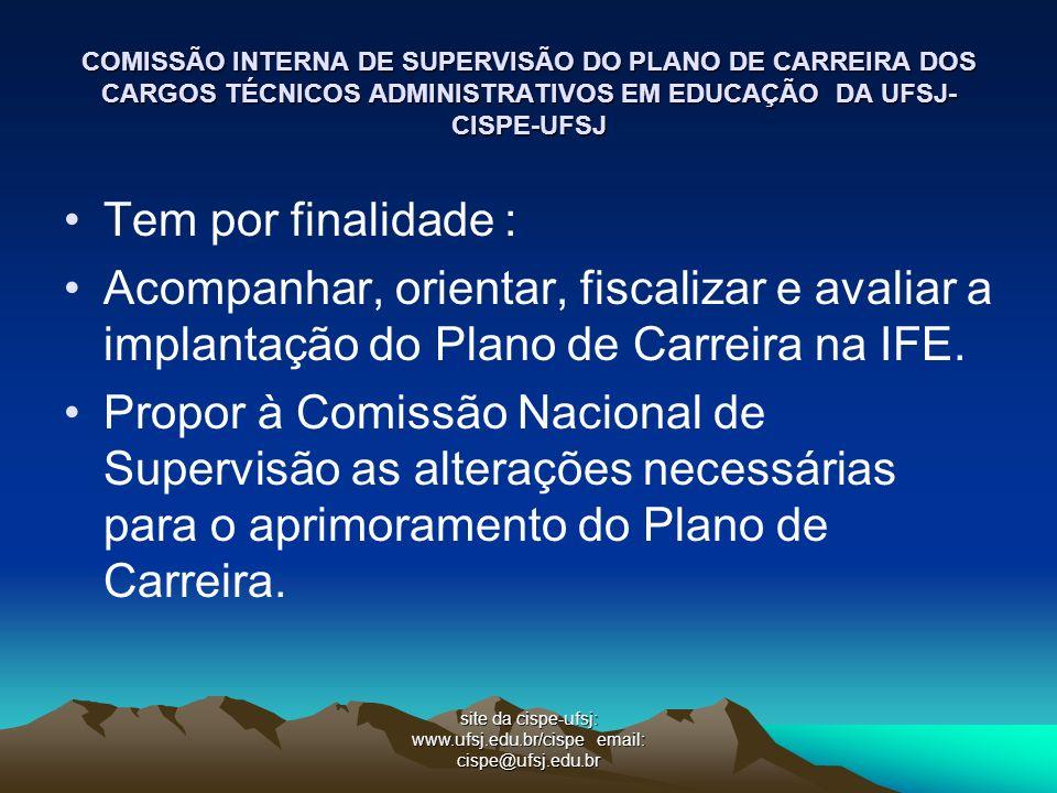 site da cispe-ufsj: www.ufsj.edu.br/cispe email: cispe@ufsj.edu.br COMISSÃO INTERNA DE SUPERVISÃO DO PLANO DE CARREIRA DOS CARGOS TÉCNICOS ADMINISTRAT