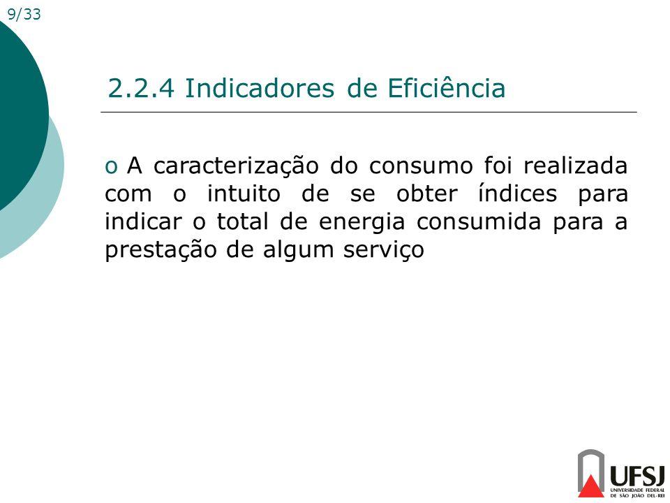 2.2.4 Indicadores de Eficiência 9/33 o A caracterização do consumo foi realizada com o intuito de se obter índices para indicar o total de energia con