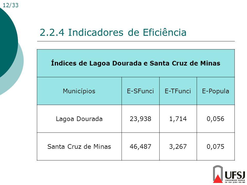 2.2.4 Indicadores de Eficiência Índices de Lagoa Dourada e Santa Cruz de Minas MunicípiosE-SFunciE-TFunciE-Popula Lagoa Dourada23,9381,7140,056 Santa