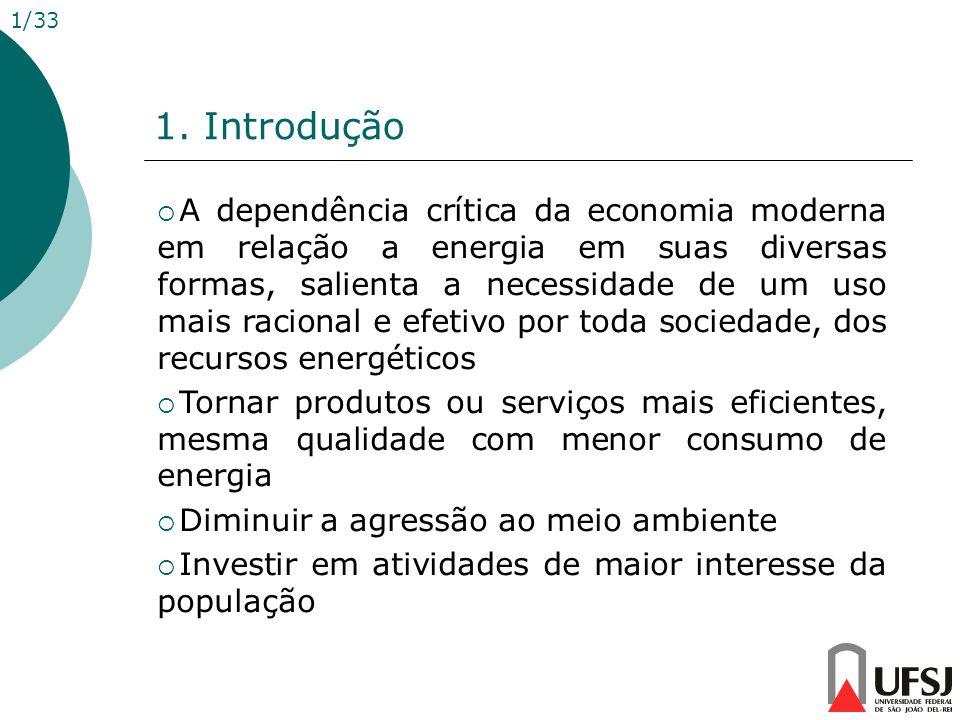 1. Introdução 1/33 A dependência crítica da economia moderna em relação a energia em suas diversas formas, salienta a necessidade de um uso mais racio