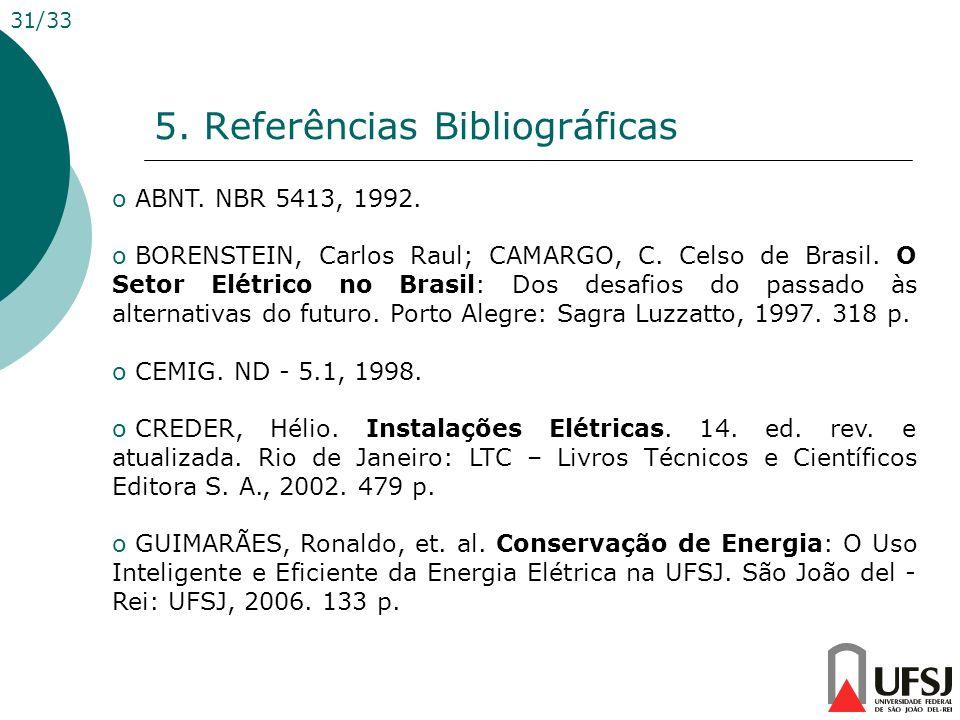 5. Referências Bibliográficas 31/33 o ABNT. NBR 5413, 1992. o BORENSTEIN, Carlos Raul; CAMARGO, C. Celso de Brasil. O Setor Elétrico no Brasil: Dos de