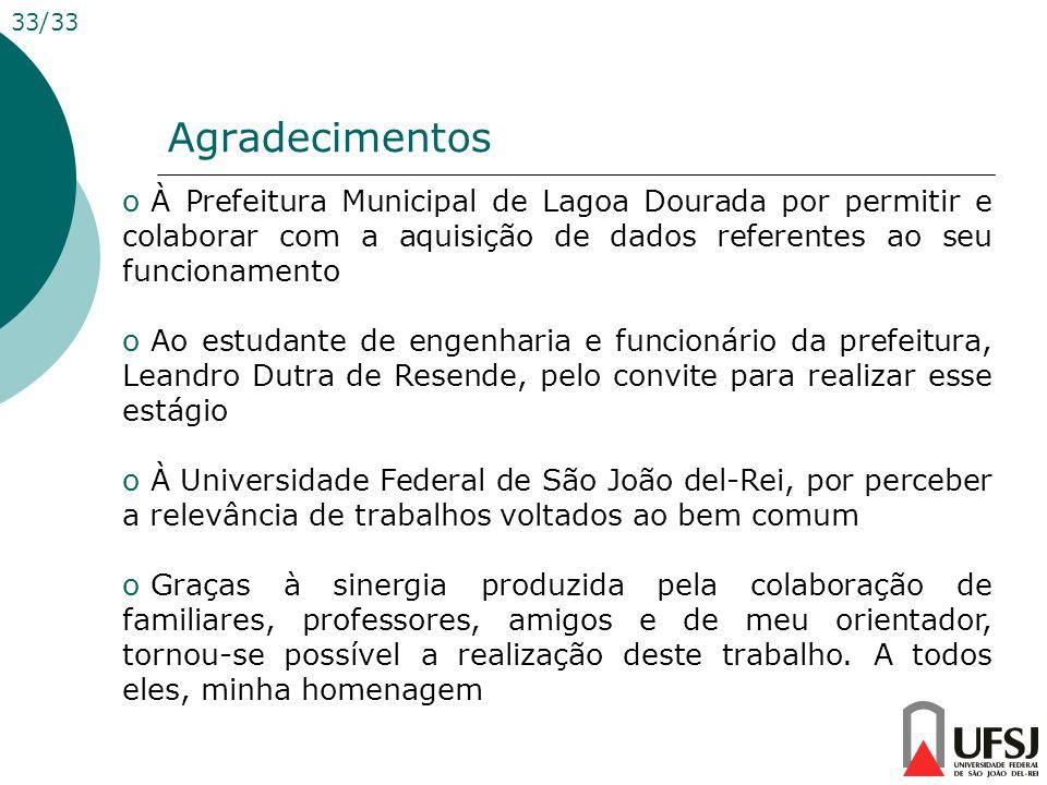 Agradecimentos 33/33 o À Prefeitura Municipal de Lagoa Dourada por permitir e colaborar com a aquisição de dados referentes ao seu funcionamento o Ao