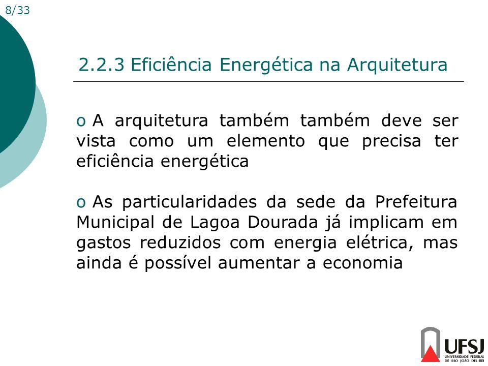 2.2.3 Eficiência Energética na Arquitetura 8/33 o A arquitetura também também deve ser vista como um elemento que precisa ter eficiência energética o