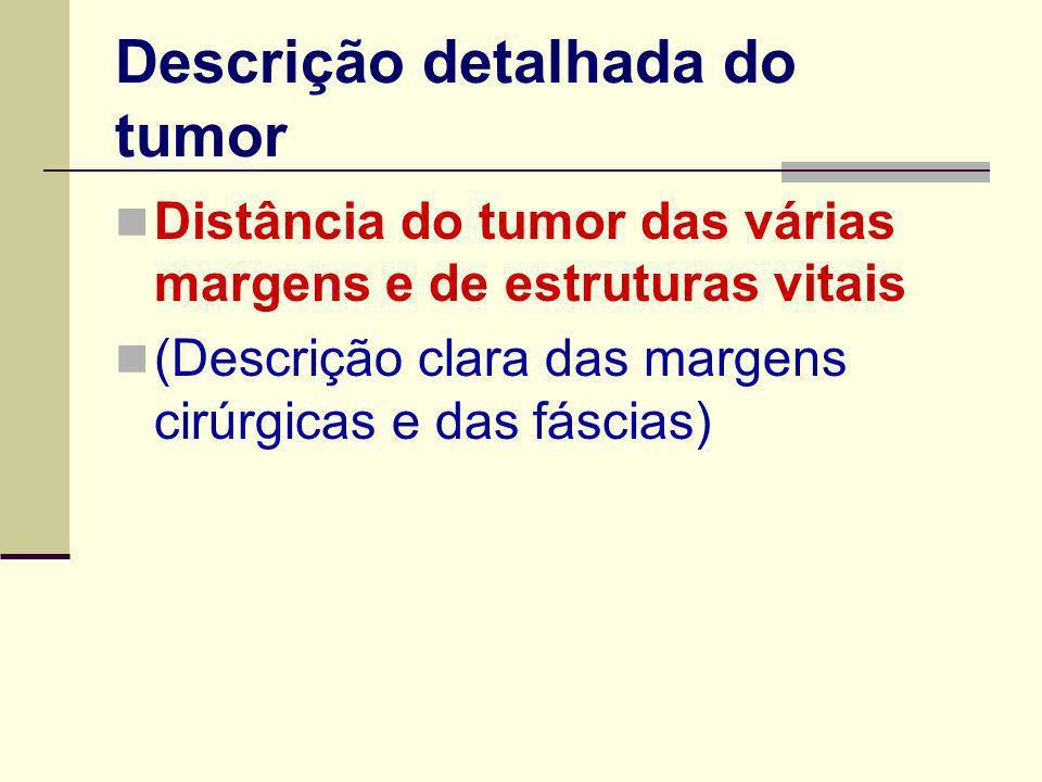 Descrição detalhada do tumor Distância do tumor das várias margens e de estruturas vitais (Descrição clara das margens cirúrgicas e das fáscias)