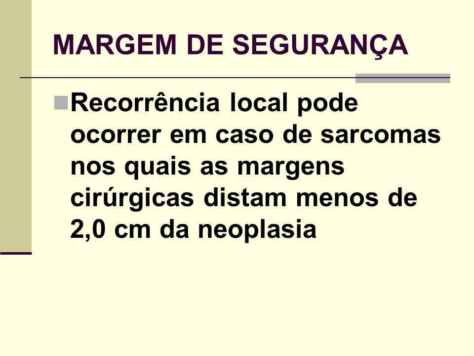 MARGEM DE SEGURANÇA Recorrência local pode ocorrer em caso de sarcomas nos quais as margens cirúrgicas distam menos de 2,0 cm da neoplasia