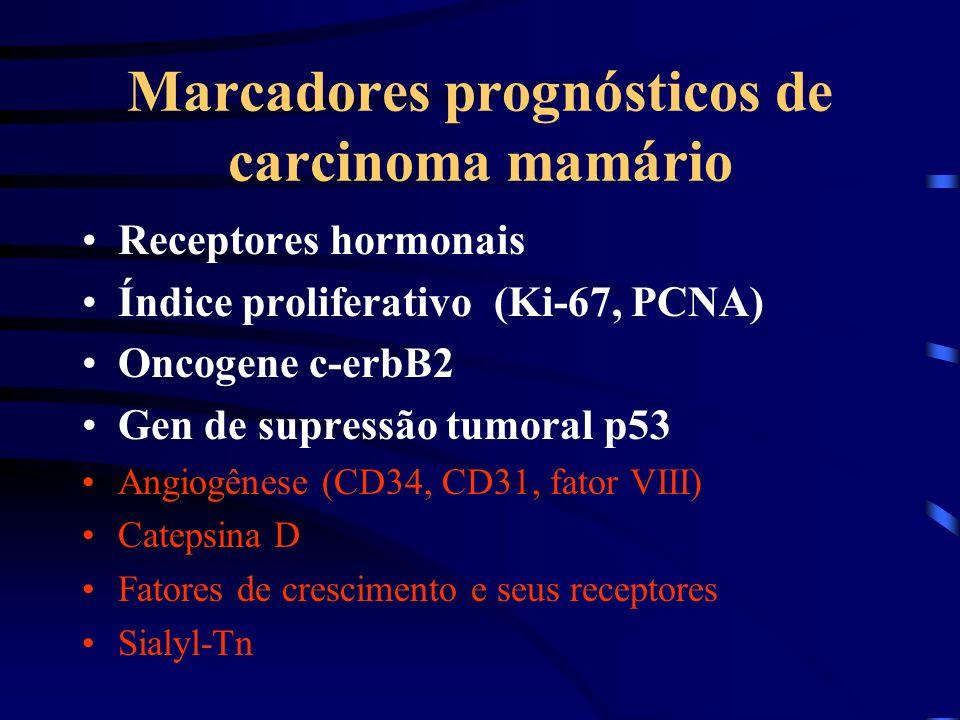 Marcadores prognósticos de carcinoma mamário Receptores hormonais Índice proliferativo (Ki-67, PCNA) Oncogene c-erbB2 Gen de supressão tumoral p53 Ang