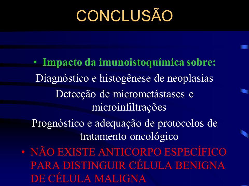CONCLUSÃO Impacto da imunoistoquímica sobre: Diagnóstico e histogênese de neoplasias Detecção de micrometástases e microinfiltrações Prognóstico e ade