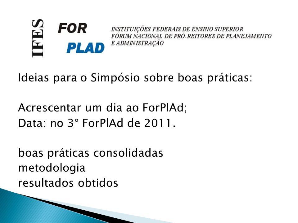 Ideias para o Simpósio sobre boas práticas: Acrescentar um dia ao ForPlAd; Data: no 3° ForPlAd de 2011.
