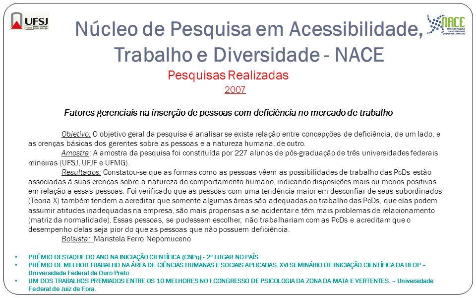 Núcleo de Pesquisa em Acessibilidade, Trabalho e Diversidade - NACE Pesquisas Realizadas 2007 Fatores gerenciais na inserção de pessoas com deficiênci