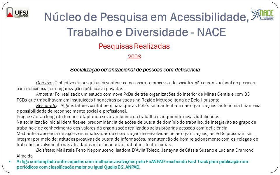 Núcleo de Pesquisa em Acessibilidade, Trabalho e Diversidade - NACE Pesquisas Realizadas 2008 Socialização organizacional de pessoas com deficiência O