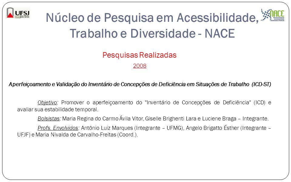 Núcleo de Pesquisa em Acessibilidade, Trabalho e Diversidade - NACE Pesquisas Realizadas 2008 Aperfeiçoamento e Validação do Inventário de Concepções