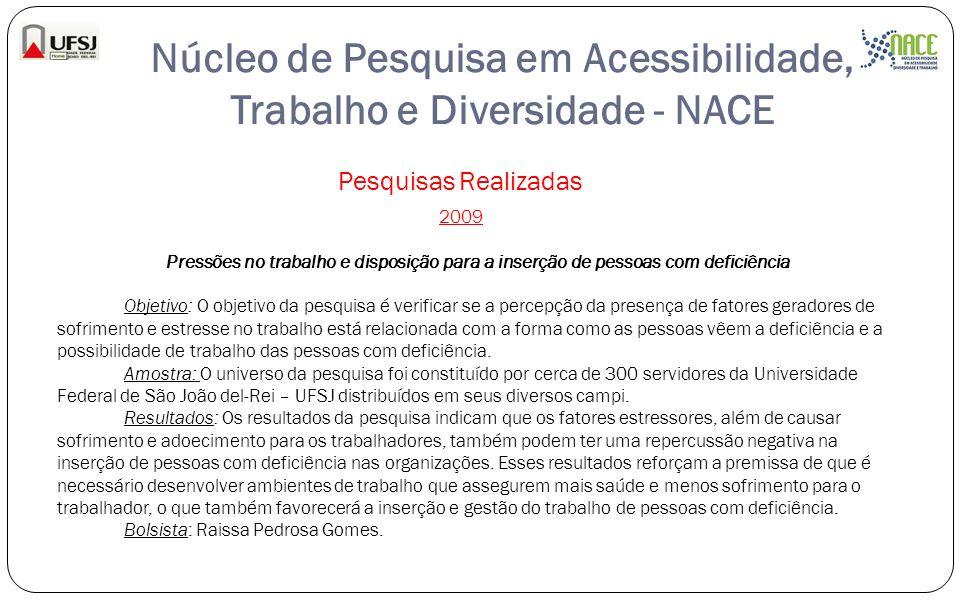 Núcleo de Pesquisa em Acessibilidade, Trabalho e Diversidade - NACE Pesquisas Realizadas 2009 Pressões no trabalho e disposição para a inserção de pes