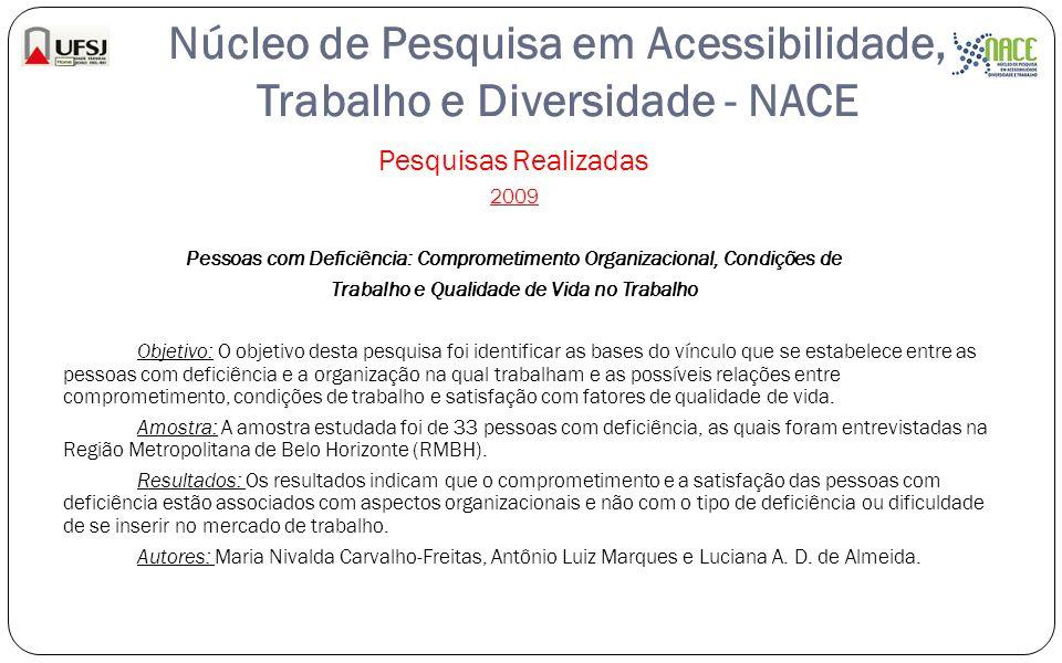 Núcleo de Pesquisa em Acessibilidade, Trabalho e Diversidade - NACE Pesquisas Realizadas 2009 Pessoas com Deficiência: Comprometimento Organizacional,