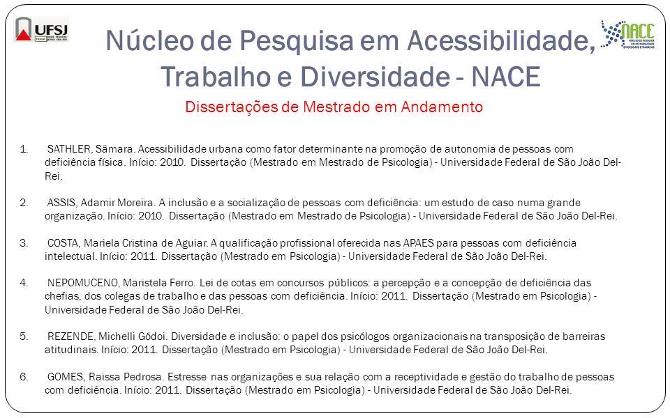 Núcleo de Pesquisa em Acessibilidade, Trabalho e Diversidade - NACE Dissertações de Mestrado em Andamento 1. SATHLER, Sâmara. Acessibilidade urbana co