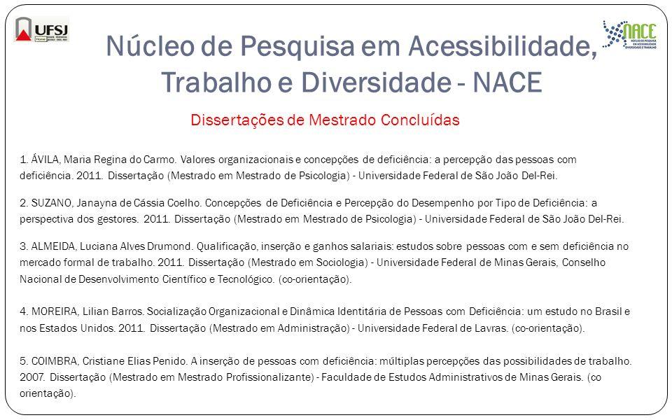 Núcleo de Pesquisa em Acessibilidade, Trabalho e Diversidade - NACE Dissertações de Mestrado Concluídas 1. ÁVILA, Maria Regina do Carmo. Valores organ