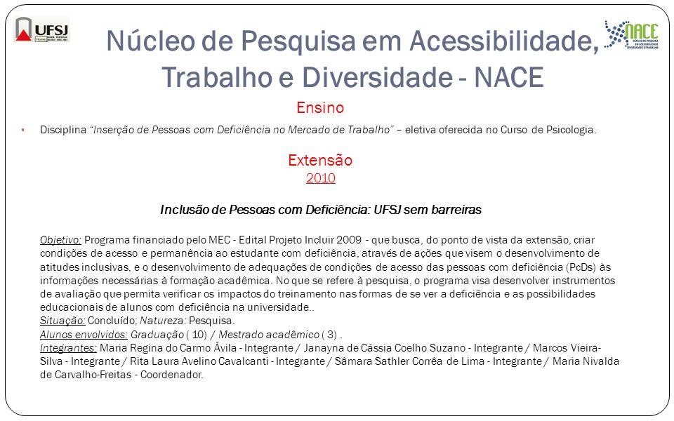 Núcleo de Pesquisa em Acessibilidade, Trabalho e Diversidade - NACE Ensino Disciplina Inserção de Pessoas com Deficiência no Mercado de Trabalho – ele