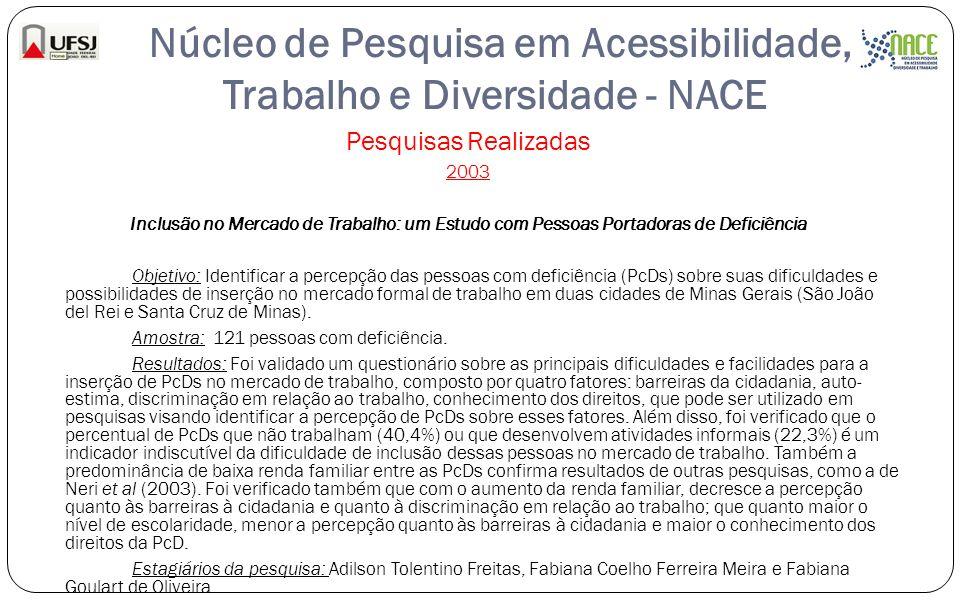 Núcleo de Pesquisa em Acessibilidade, Trabalho e Diversidade - NACE Pesquisas Realizadas 2003 Inclusão no Mercado de Trabalho: um Estudo com Pessoas P