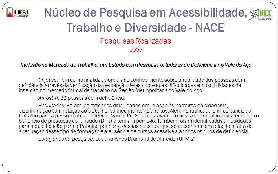 Núcleo de Pesquisa em Acessibilidade, Trabalho e Diversidade - NACE Pesquisas Realizadas 2005 Inclusão no Mercado de Trabalho: um Estudo com Pessoas P