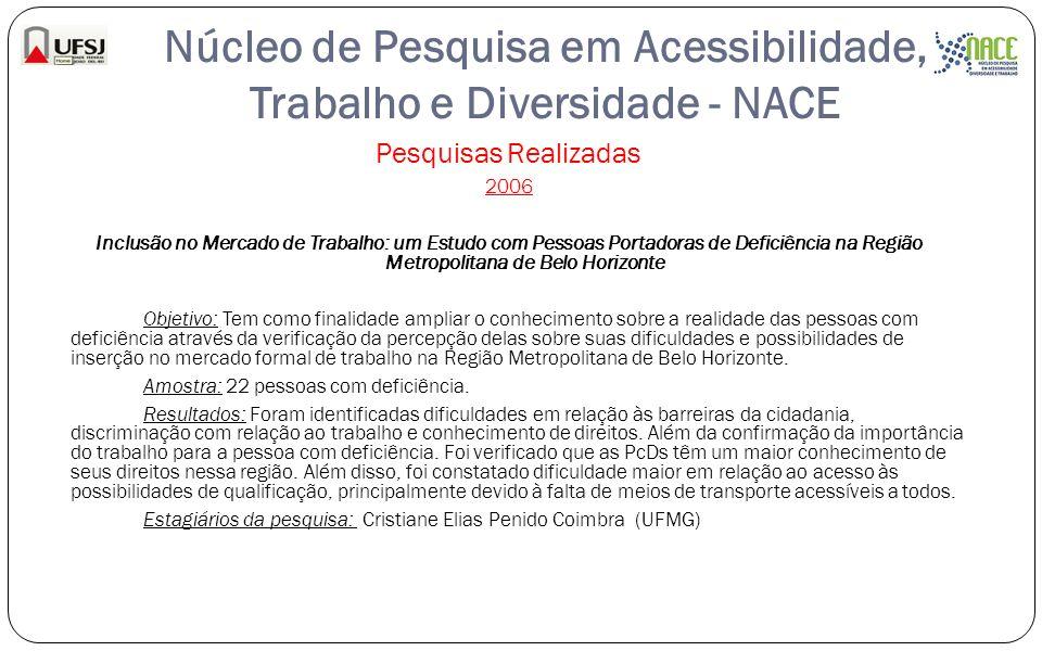 Núcleo de Pesquisa em Acessibilidade, Trabalho e Diversidade - NACE Pesquisas Realizadas 2006 Inclusão no Mercado de Trabalho: um Estudo com Pessoas P