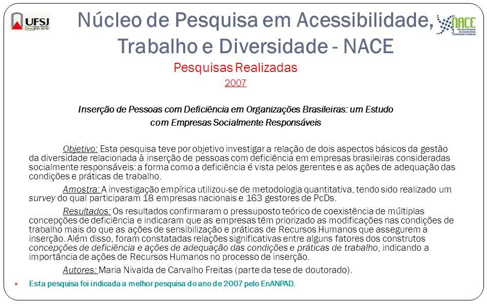 Núcleo de Pesquisa em Acessibilidade, Trabalho e Diversidade - NACE Pesquisas Realizadas 2007 Inserção de Pessoas com Deficiência em Organizações Bras