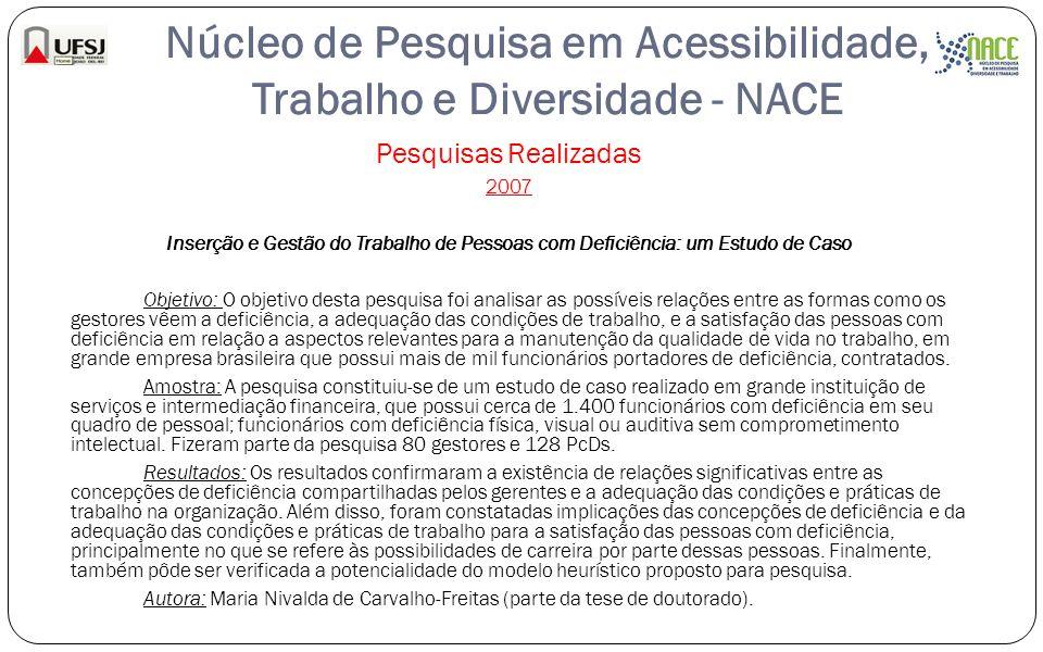 Núcleo de Pesquisa em Acessibilidade, Trabalho e Diversidade - NACE Pesquisas Realizadas 2007 Inserção e Gestão do Trabalho de Pessoas com Deficiência