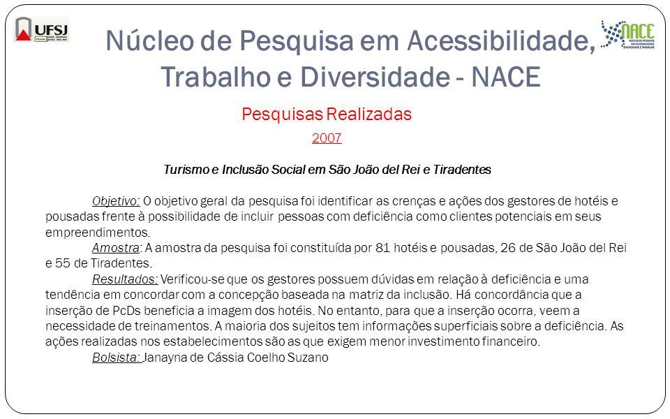 Núcleo de Pesquisa em Acessibilidade, Trabalho e Diversidade - NACE Pesquisas Realizadas 2007 Turismo e Inclusão Social em São João del Rei e Tiradent