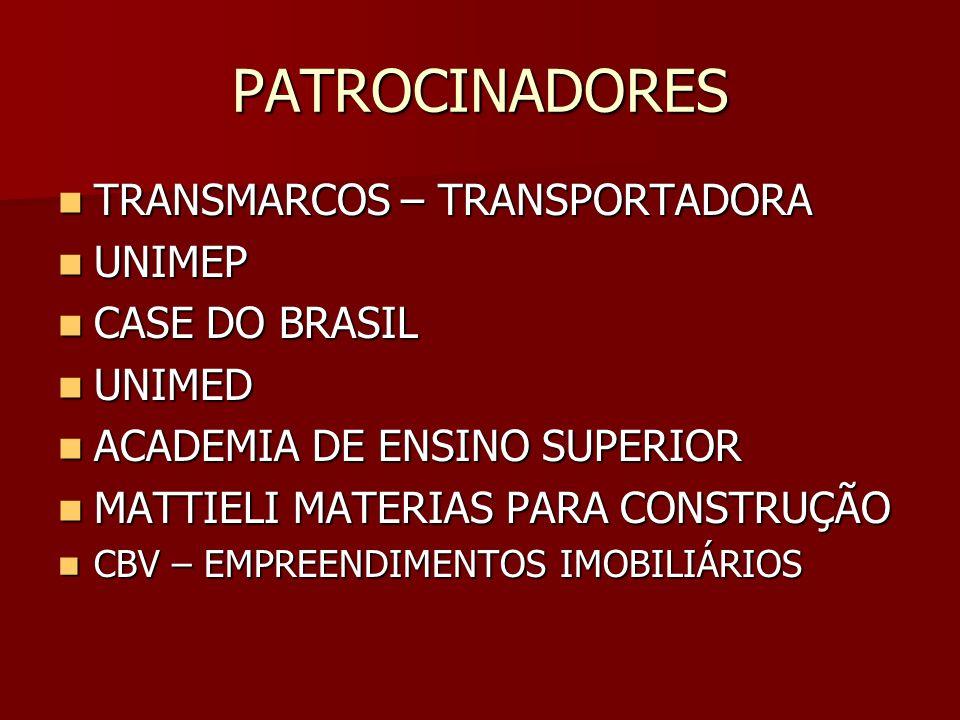 PATROCINADORES TRANSMARCOS – TRANSPORTADORA TRANSMARCOS – TRANSPORTADORA UNIMEP UNIMEP CASE DO BRASIL CASE DO BRASIL UNIMED UNIMED ACADEMIA DE ENSINO SUPERIOR ACADEMIA DE ENSINO SUPERIOR MATTIELI MATERIAS PARA CONSTRUÇÃO MATTIELI MATERIAS PARA CONSTRUÇÃO CBV – EMPREENDIMENTOS IMOBILIÁRIOS CBV – EMPREENDIMENTOS IMOBILIÁRIOS